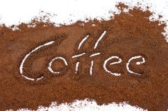 Milled coffee sign. On a white background Stock Photography