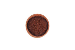 Milled coffee in a wooden bowl Royalty Free Stock Photography