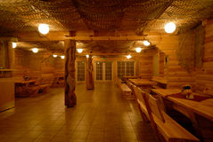 Milled log house interior Royalty Free Stock Images