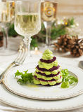 Millefeuille with beetroot and avocado mousse Stock Photos