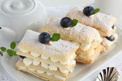 Millefeuille with blueberries. Royalty Free Stock Image