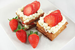 Millefeuille cakes with strawberry Stock Photography