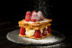 Millefeuille dessert with raspberry Royalty Free Stock Image