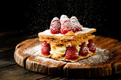Millefeuille dessert with raspberry Royalty Free Stock Photography