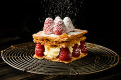 Millefeuille dessert with raspberry Stock Photo