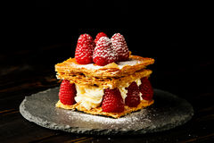 Millefeuille dessert with raspberry Royalty Free Stock Photos