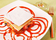 Millefeuille - Layered dessert  with fresh berries Royalty Free Stock Images