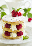 Millefeuille with raspberry Stock Images