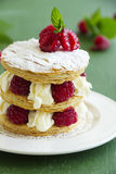 Millefeuille with raspberry Royalty Free Stock Photos