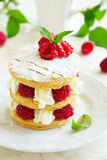 Millefeuille with raspberry Stock Image
