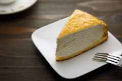 Millefeuille on a wooden backgorund Royalty Free Stock Images