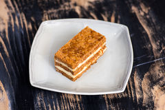 Millefoglie pastry. A millefoglie (or mille-feuille) pastry made with puff pastry (pâte feuilletée) and crème pâtissière Royalty Free Stock Photography