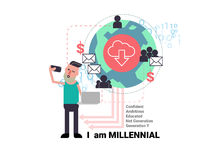 Millenial young man taking selfie with social network business  Stock Images