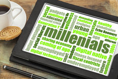 Millenials word cloud on tablet Stock Photography