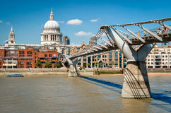 Millenium bridge across river Thames between St. Paul`s Cathedra Royalty Free Stock Images