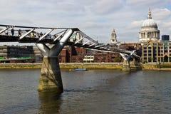 Millenium Bridge crosses the River Thames in London, England Royalty Free Stock Image
