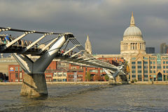 Millenium bridge, London. Millenium bridge with st pauls cathedral on the background Stock Photo