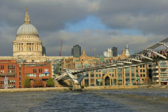 Millenium bridge, London. Millenium bridge with st pauls cathedral on the background Royalty Free Stock Photography