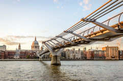 Millenium Bridge and London Waterfront Royalty Free Stock Image