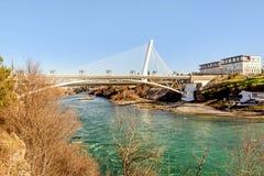 Millenium bridge over the river Moraca in Podgorica, Montenegro Stock Photos
