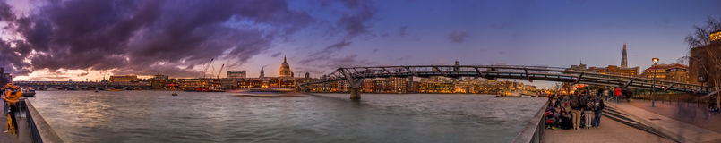 Millenium Bridge panorama stock photo