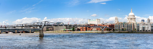 Millenium bridge and St Paul cathedral in London Stock Image