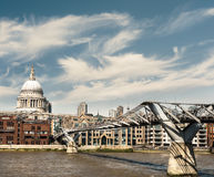 Millenium bridge and St. Paul in London Royalty Free Stock Photography