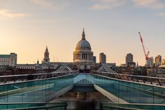 Millenium Bridge and St Pauls Cathedral Stock Images