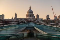 Millenium Bridge and St Pauls Cathedral Royalty Free Stock Image