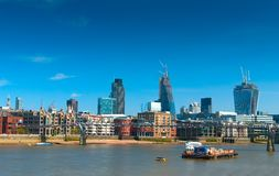 Millenium bridge with white ship with City in background Stock Image