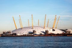 Millenium Dome. London, UK – December 10, 2011: The Millenium Dome approaching from the River Thames, now known as the O2 Concert Hall, popular for it's live Stock Photos