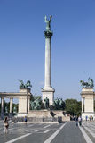 Millenium Monument Budapest Hungary. The Millenium Monument, a column topped by a statue of the archangel Gabriel and two collonades with Hungarian heroes. Hosok Royalty Free Stock Image