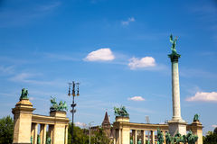 The Millenium Monument on the heroes square in Budapest Royalty Free Stock Photo