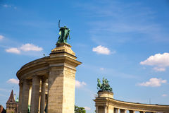 The Millenium Monument on the heroes square in Budapest Stock Image
