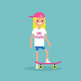 Millennial łyżwiarki dziewczyna jest ubranym koszulkę z dziewczyny władzy znakiem ilustracja wektor
