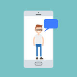 Millennial boy talking on the smart phone screen royalty free illustration
