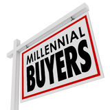 Millennial Buyers Words Home for Sale House Real Estate Sign. Millennial Buyers words on a home for sale or house real estate sign to illustrate or advertise Stock Photos
