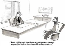 Millennial Consultant. Business cartoon showing businessman saying to consultant with a beard, 'I can tell by your beard you are the perfect person to provide royalty free illustration