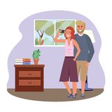 Millennial couple smartphone taking selfie indoors background frame. Millennial couple smartphone taking selfie room drawer window and lamp redhead indoors royalty free illustration