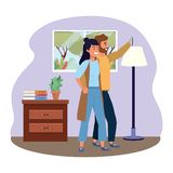 Millennial couple smartphone taking selfie indoors background frame. Millennial couple smartphone taking selfie room drawer window and lamp vest indoors royalty free illustration