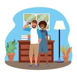 Millennial couple smartphone taking selfie indoors background frame. Millennial couple smartphone taking selfie room drawer window and lamp overalls indoors vector illustration