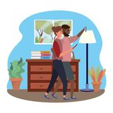 Millennial couple smartphone taking selfie indoors background frame. Millennial couple smartphone taking selfie room drawer window and lamp indoors background royalty free illustration