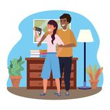 Millennial couple smartphone taking selfie indoors background. Room window drawer and lamp frame vector illustration graphic design vector illustration