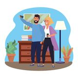 Millennial couple smartphone taking selfie indoors background. Room window drawer and lamp frame vector illustration graphic design royalty free illustration