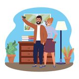 Millennial couple smartphone taking selfie indoors background. Room window drawer and lamp frame vector illustration graphic design stock illustration