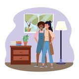Millennial couple together hanging out indoors background frame. Millennial couple together hanging out stylish overalls and vest room drawer window and lamp vector illustration