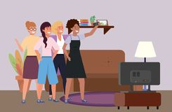 Millennial diverse group taking selfie indoors background. Millennial diverse group taking selfie indoors room background television lamp and couch vector vector illustration
