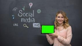 Millennial girl advertises social media on tablet, digital nation, green screen stock video