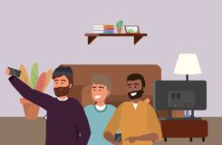 Millennial group smartphone taking selfie indoors background. Millennial group smartphone taking selfie indoors room furniture television afro bearded background stock illustration