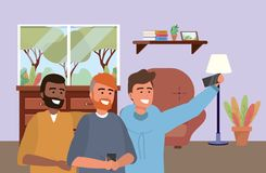Millennial group smartphone taking selfie indoors background. Millennial group smartphone taking selfie indoors room furniture afro redhead bearded background royalty free illustration